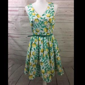 Elle Lemon Print Fit & Flare Dress Size 6